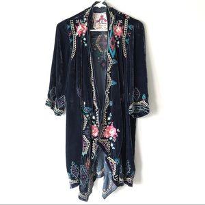 Johnny Was Los Angeles Embroidered Velvet kimono